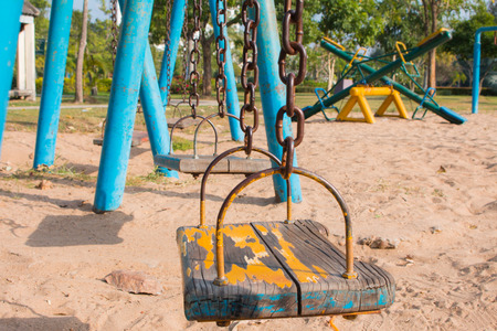 The swings in the playground Stock Photo