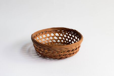 full willow: Wicker basket isolated ,Empty Basket Stock Photo