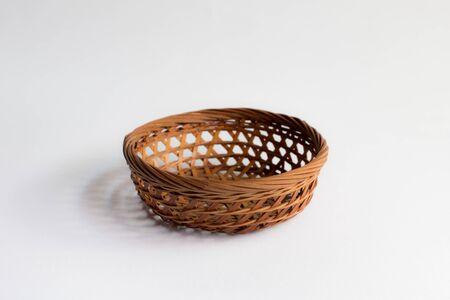 eco flowers basket: Wicker basket isolated ,Empty Basket Stock Photo