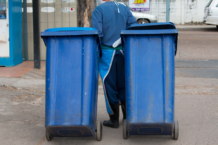 Blue , red bins , recycling bins , trash cans and public hospitals . Stock Photo