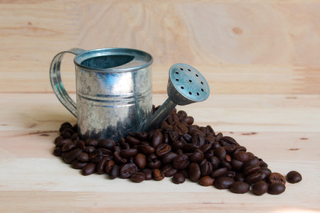 coffeetree: Watering Can miniature and Coffee beans wood background.