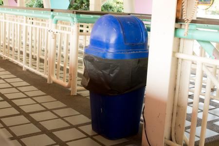 garden waste: wheelie bins for rubbish, recycling and waste,recycling and garden waste. old trash bin in thailand