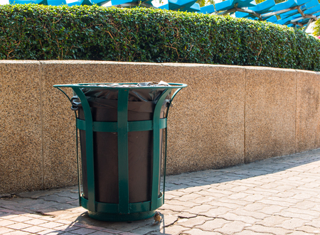 wheelie bin: wheelie bins for rubbish, recycling and waste,recycling and garden waste. old trash bin in thailand
