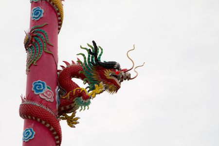 shrine: Colorful dragon column at Chinese shrine Stock Photo