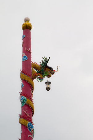 Colorful dragon column at Chinese shrine Stock Photo