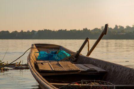 mekong: Wooden fishing boats on the Mekong River. Stock Photo