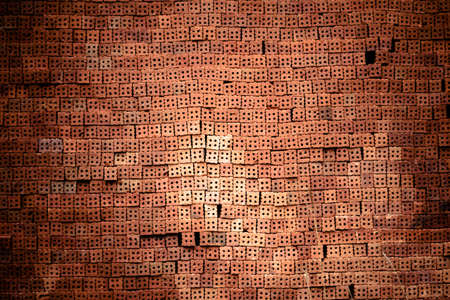 solid background: Red brick wall texture construction Stock Photo