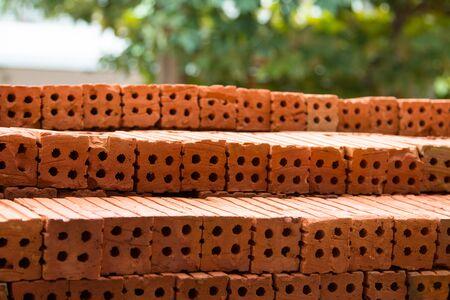 concrete block: Red brick wall texture construction Stock Photo