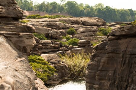 Beautiful amazing of rocks, Natural of rock canyon in mekhong river , Hat Chom Dao, Ubon Ratchathani province, North east Thailand