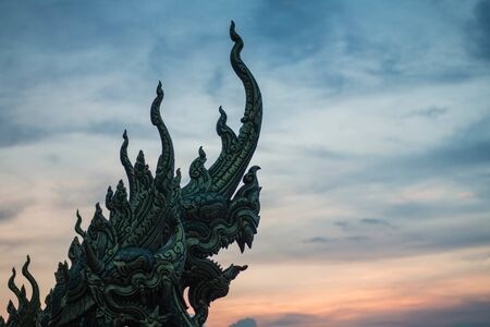 beautiful naga statue or King of nagas Serpent animal in Buddhist legend