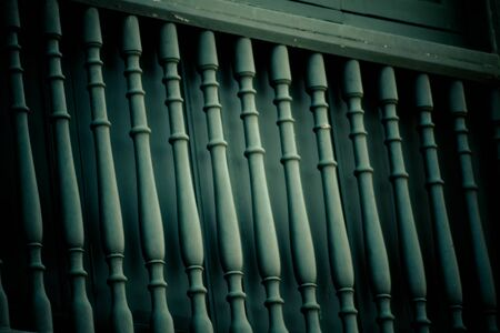 Abstract background of Old  Wood railings green