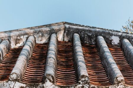 Ancient roof structure tile is an , traditional roof tile and is still in use in the Asian region