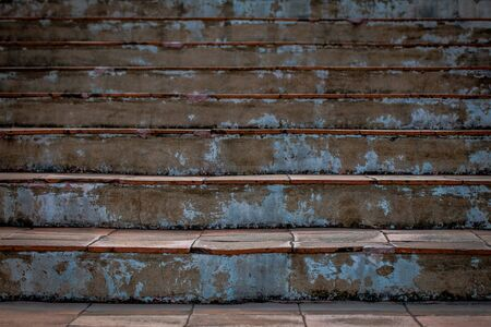 Abstract background of Old Concrete stairs.  concrete staircase with old dry leaves. Foto de archivo