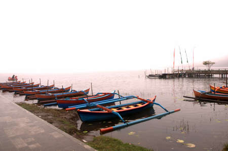 danu: Boats moored at the temple Pura Ulun Danu Bratan.