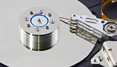 Hard disk with abstract background photo