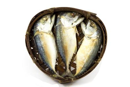 fishy: Mackerel fish on the bamboo round basket