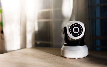 private room: The CCTV security camera operating in home.