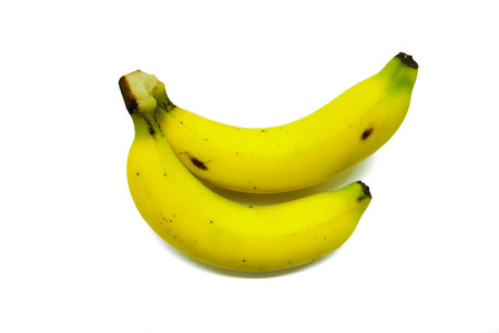 two pieces: Two pieces of banana isolated.