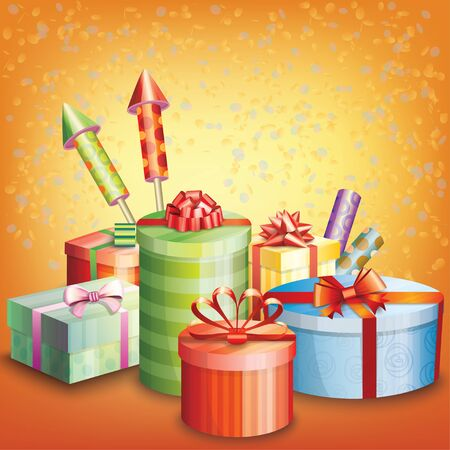 Composition of gift boxes, fireworks and confetti