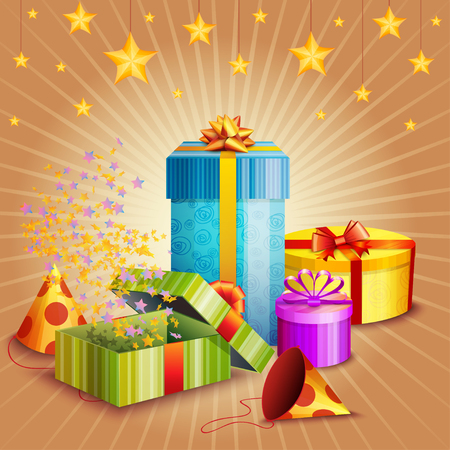 Composition of gift boxes, fireworks, stars and confetti
