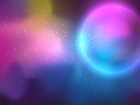 Stars And Galaxy Background In Bright Colors. Illustration