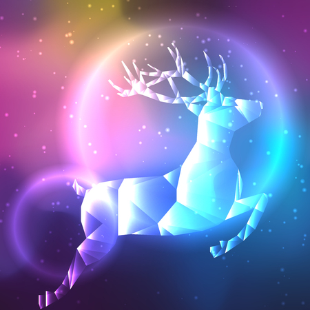 Flying reindeer on galaxy background. Vector illustration Illustration