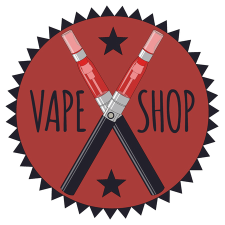 Vape Shop Icon And Letters Hipster Style Vector Graphic. Illustration