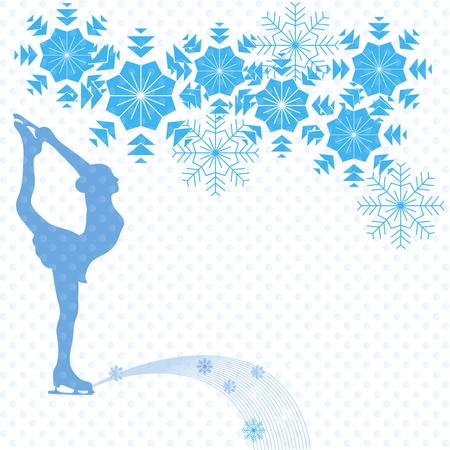 IJsschaatser op een witte achtergrond en sneeuwvlokken