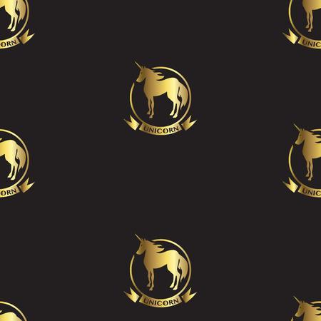 Gold unicorns on black background seamless pattern.