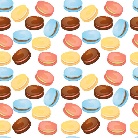 Appetizing pattern with macaroons on a white background