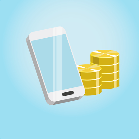 Illustration of a smartphone and coins on a blue background