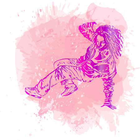 computer dancing: Break dance dancer on handcrafted splashes background, modern trend background. Good for flayer, web, banner, print, party invitation.