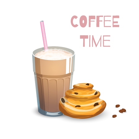 raisin: Coffee drink and bun on a white background
