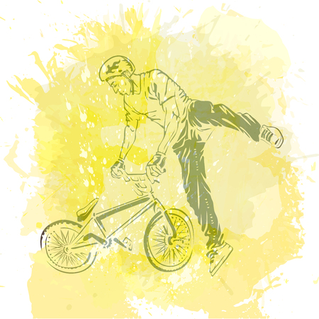 Bike rider jumping on a artistic abstract background. Handcrafted spot. Good for print, web, flayer design.