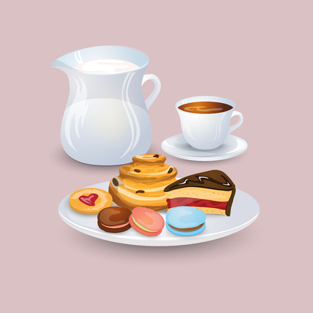 raisin: Appetizing plate with pastries and sweets, a jug of milk, a cup of coffee on a gently pink background