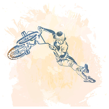 freeride: Bike rider jumping on a artistic abstract background. Handcrafted spot. Good for print, web, flayer design.