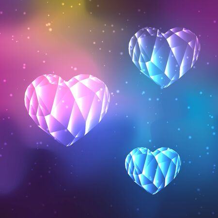 polaris: Low poly crystal heart on cosmos galaxy background.