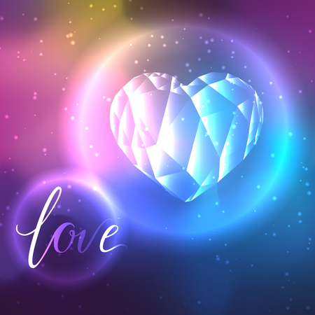 Low poly crystal bright heart. Good for Valentine s day, gifts, packs, wallpaper, invitations