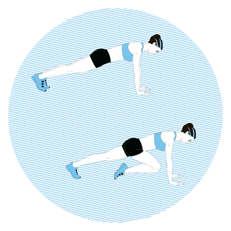 Girl doing sports exercise in the blue circle Illustration