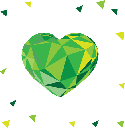 Low poly crystal bright green heart. Good for Valentine s day, gifts, packs, wallpaper, invitations.