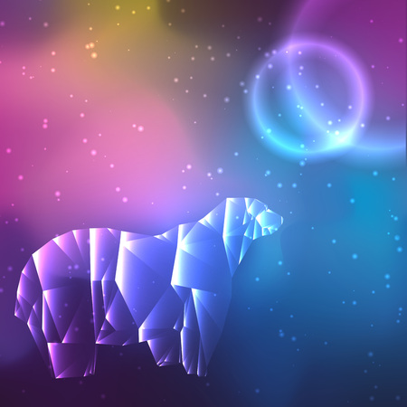 Low poly crystal polar bear. Space background with stars and planets. Cosmos glowing.