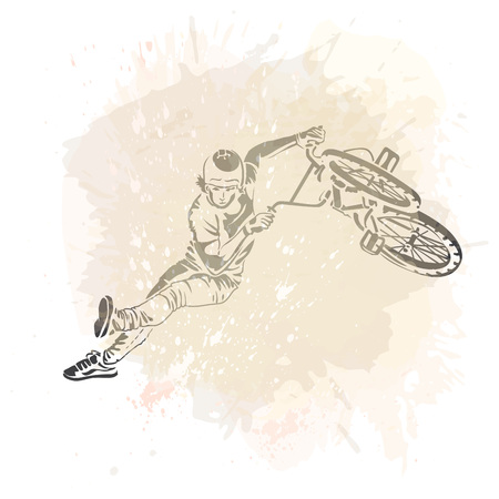 flayer: Bike rider jumping on a artistic abstract background. Handcrafted spot. Good for print, web, flayer design.