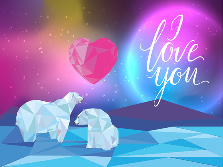 metrology: Galaxy and polar bears background for web, banners, flayers, cards. I love you lettering. Heart.