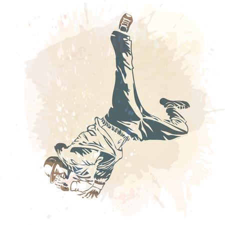 Break dance dancer on handcrafted splashes modern trend backdrop. Illustration