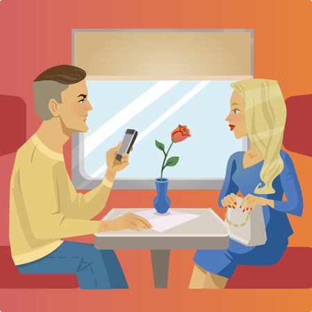 Man and woman sit at the train restaurant or cafe. Illustration