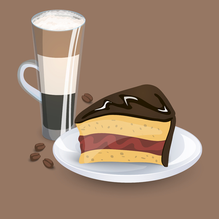 decanter: Cup with coffee drink, sweets and beans on a beige background Illustration