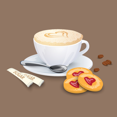 Cup with coffee drink, sweets and beans on a beige background Illustration