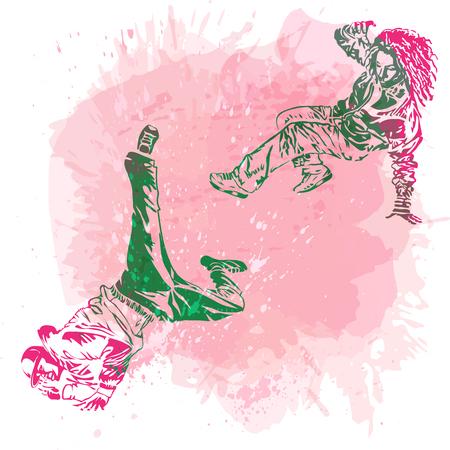 Break dance dancer on handcrafted splashes background, modern trend background. Good for flayer, web, banner, print, party invitation. Vetores