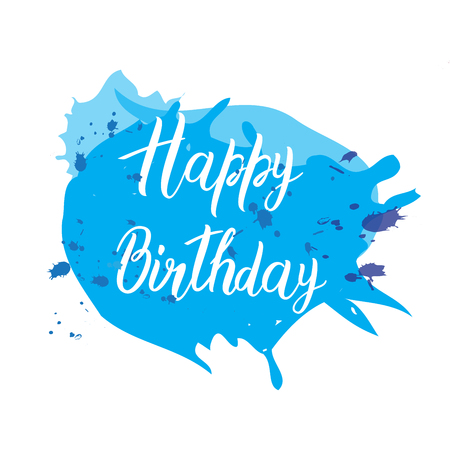 Happy birthday card with handmade letters calligraphy colorful and bright Illustration