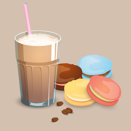 Cup with coffee drink, macaroons and beans on a beige background